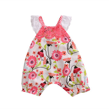 Newborn Baby Girls Lace Floral Romper Pink Jumpsuit Children Clothing Summer Costume Girl Rompers Outfits Sunsuit Clothes