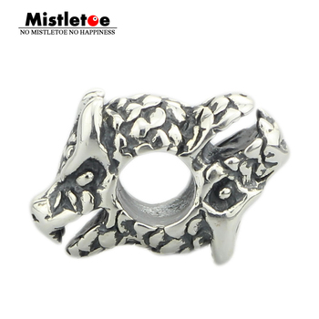 Mistletoe Genuine 925 Sterling Silver Happy Dragon Charm Bead Fits European Brand 3.0mm Bracelet Jewelry